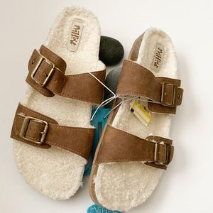 Mad Love lined two strap brown sandals